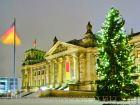 Рейхстаг в Берлине зимой ночью